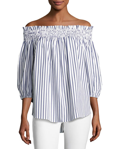 Lou Off-the-Shoulder Stripe Cotton Top, Blue/White