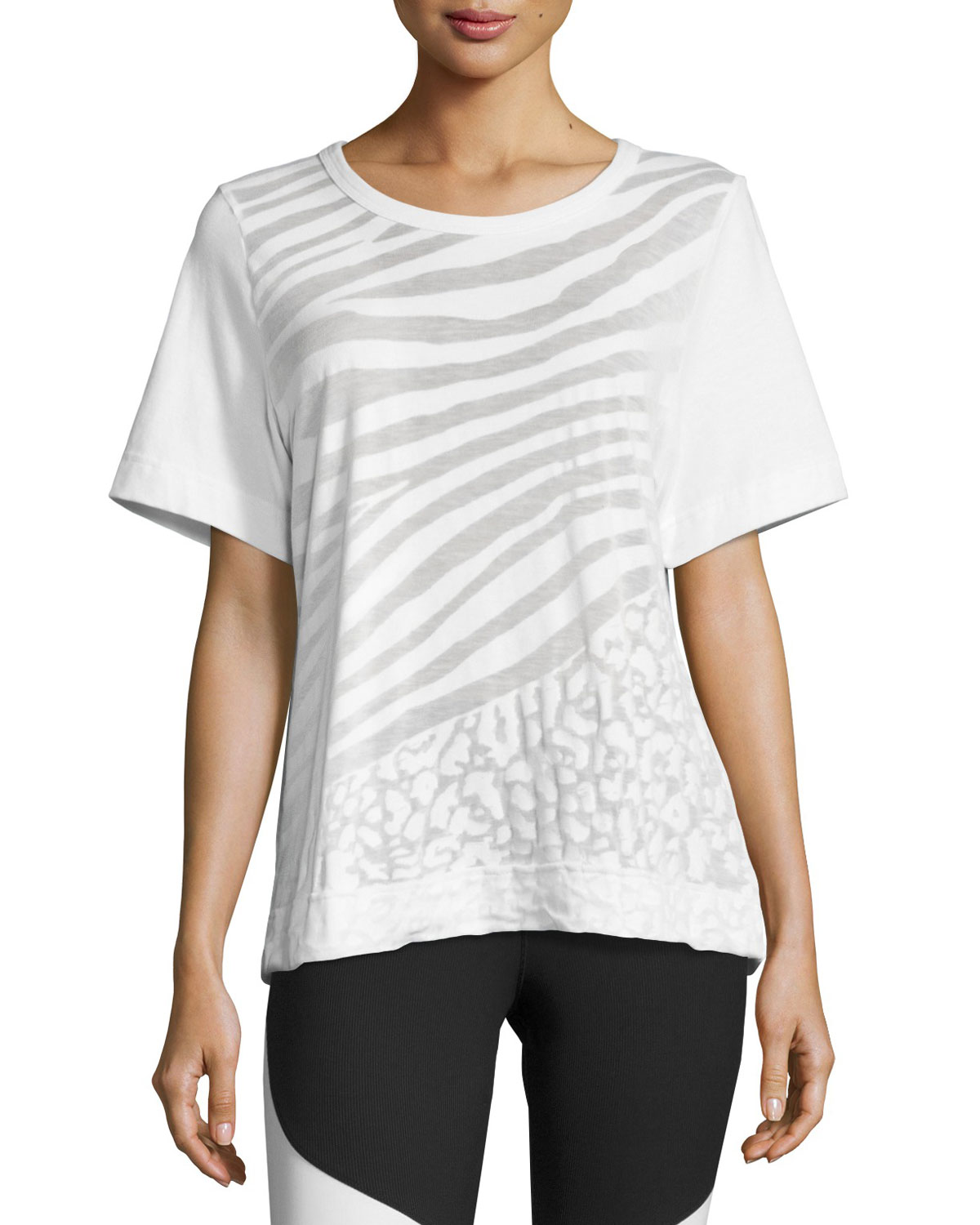 Climalite Animal-Print Workout T-Shirt, White