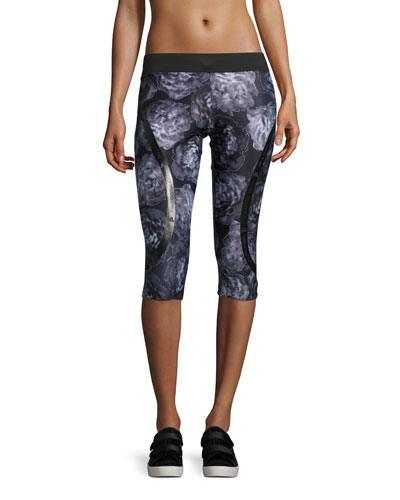 Run ClimaLite® 3/4-Length Floral-Print Compression Tights, Black