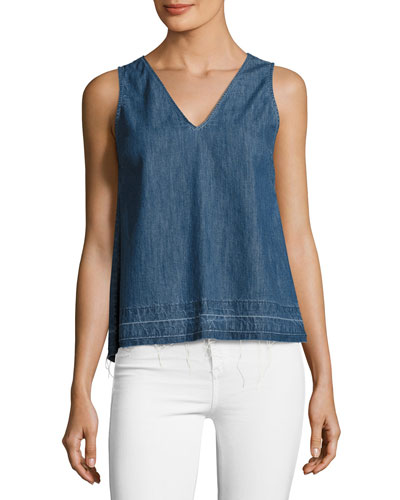 Draped Chambray Tank Top, Indigo
