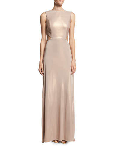 Sleeveless Twist-Back Metallic Jersey Column Gown, Primrose
