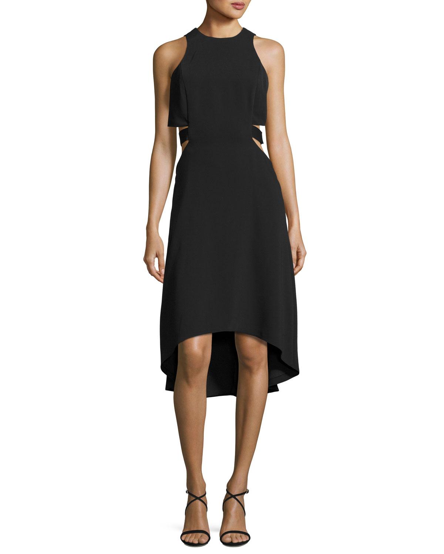 Sleeveless Cutout Stretch Crepe Cocktail Dress, Black