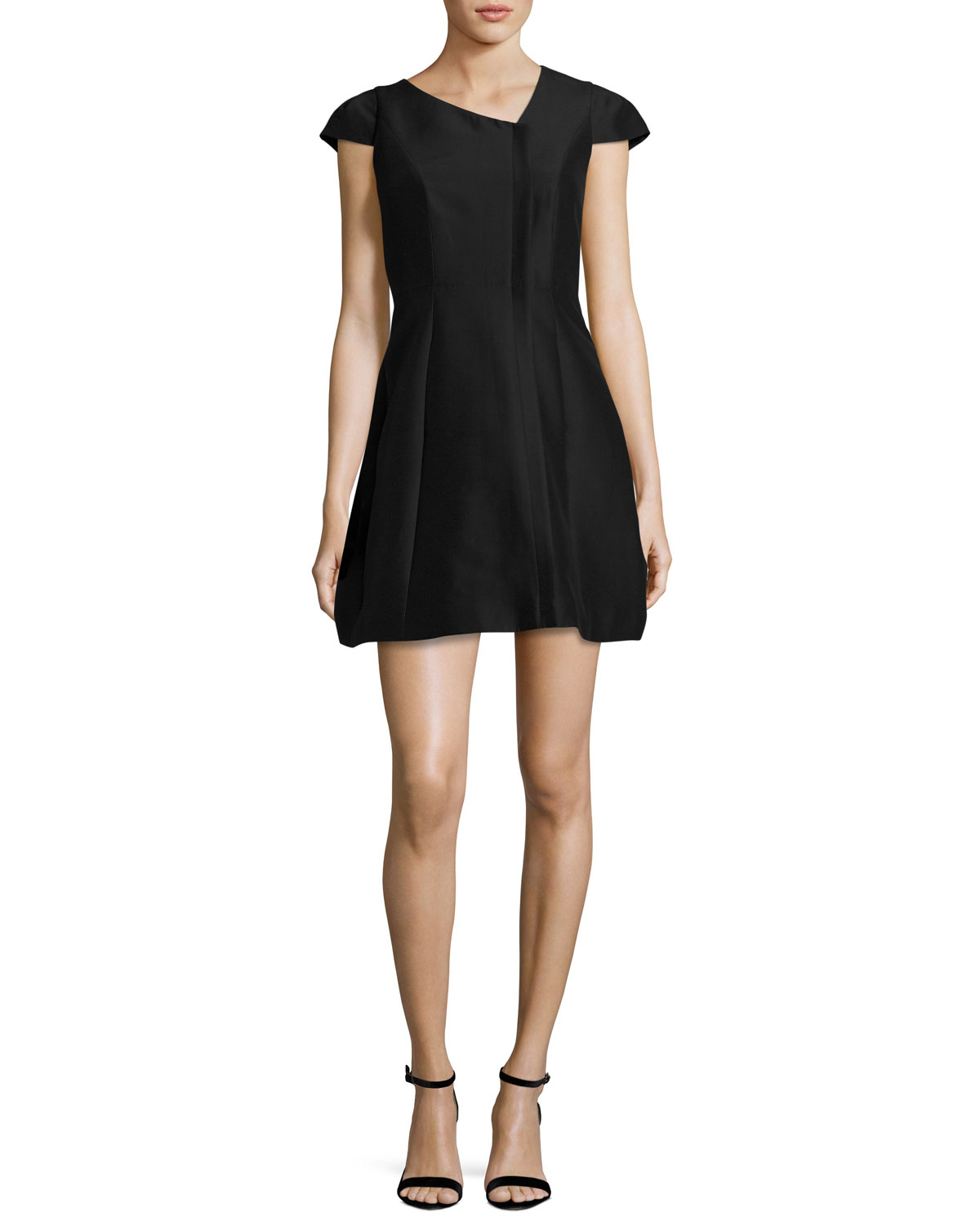 Cap-Sleeve Faille Cocktail Dress, Black