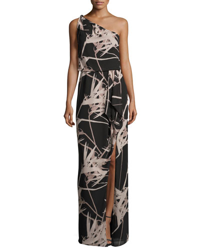 One-Shoulder Floral Chiffon Gown, Black