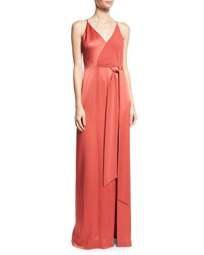 Sleeveless Satin Wrap Gown, Chili Red