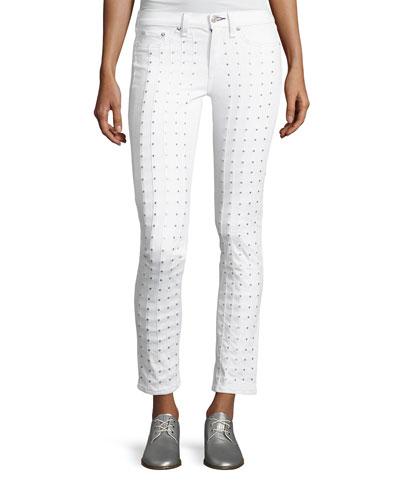 Studded Skinny Jeans, Blanc