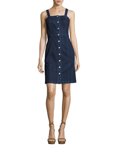 Sydney Sleeveless Button-Down Denim Dress, Indigo