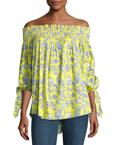 Lou Multi-Print Top, Yellow Pattern