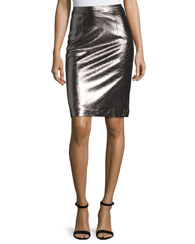 Metallic Leather Pencil Skirt, Gunmetal