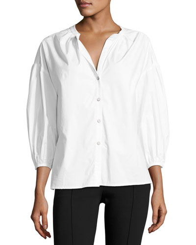 Bette Puff-Sleeve Cotton Shirt, White