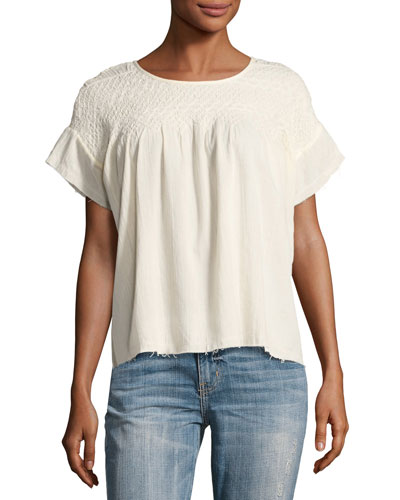 The Smocked Cotton Tee Shirt, Beige