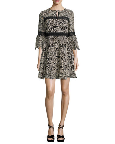 3/4-Sleeve Embroidered Floral Mini Dress, Cream/Black