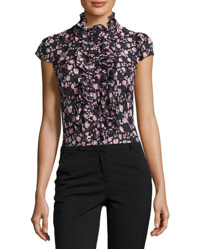 Cap-Sleeve Floral Silk Ruffle-Trim Blouse, Black/Multicolor