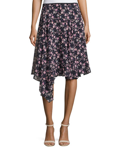 Asymmetric Floral Silk Skirt, Black/Multicolor
