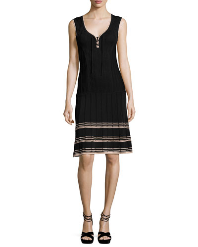 Sleeveless Ribbed V-Neck Dress, Black