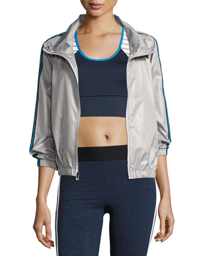 Racing Wind-Resistant Athletic Jacket, Silver