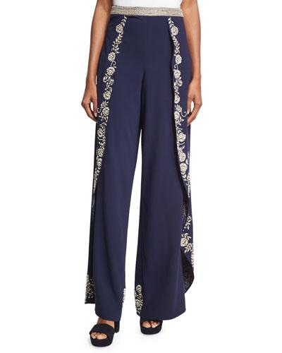 Larissa Embroidered Crepe Overlap Pants, Blue