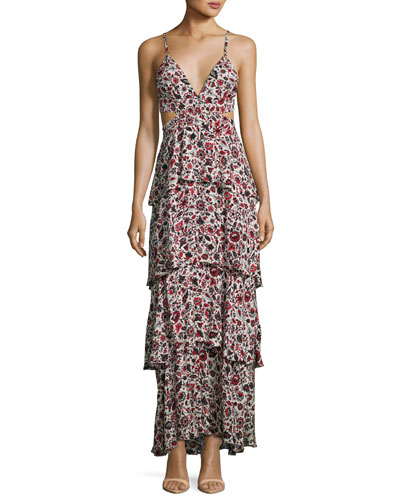 Titus Sleeveless Tiered Floral Silk Maxi Dress, Multicolor