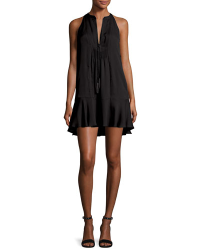Hadley Sleeveless Silk Crepe de Chine Mini Dress, Black
