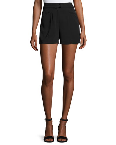 Joan High-Rise Stretch Crepe Shorts, Black