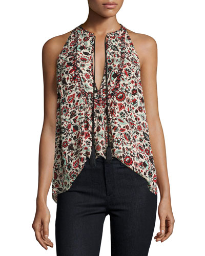 Levi Sleeveless Floral Silk Top, Red/Multicolor