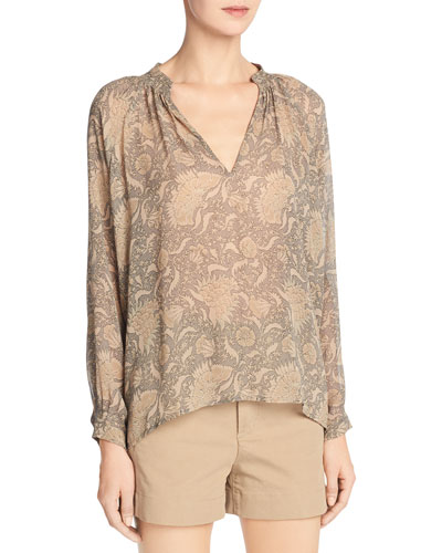 Vintage Floral Pleat-Neck Silk Blouse, Natural