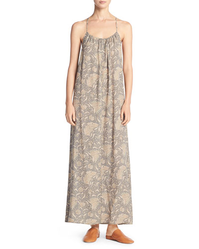 Vintage Floral Shirred Silk Maxi Tank Dress, Natural