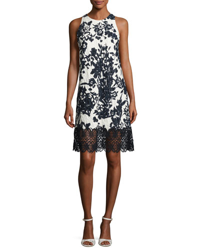 Sleeveless Floral Jacquard Cocktail Dress, White/Black