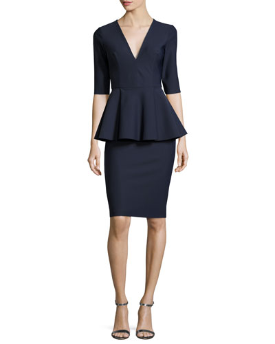 Lola Ponte Peplum Cocktail Dress, Blue