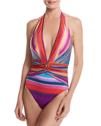 Mai Tai Deep Plunge Halter One-Piece Swimsuit, Pink Multicolor