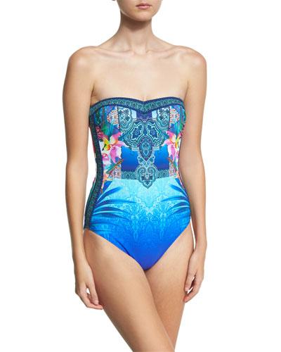 Oahu Bandeau One-Piece Swimsuit, Blue/Multicolor