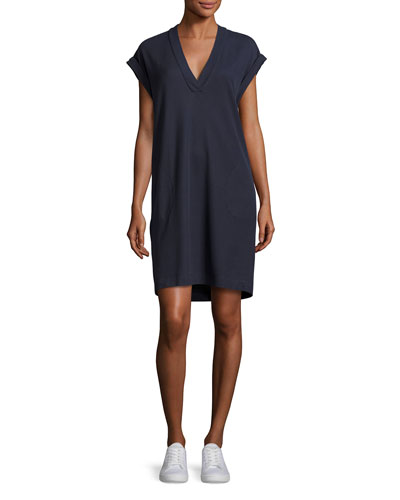 Pique Pima Shift Dress, Navy