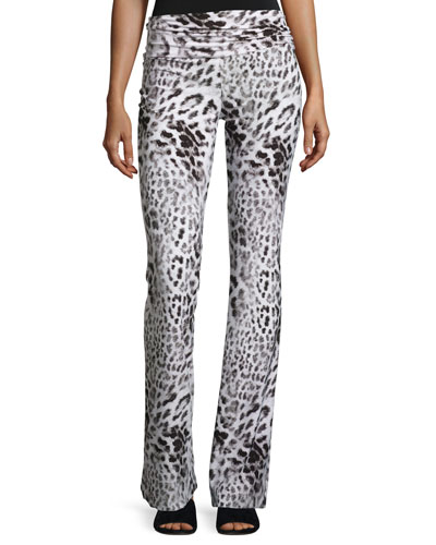 Jersey High-Waist Boot Pants, Gray Leopard