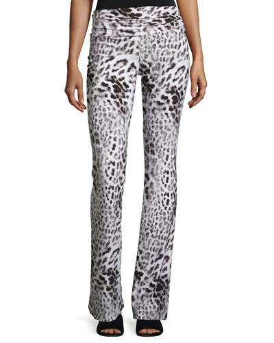 Jersey High-Waist Boot Pants, Gray Leopard