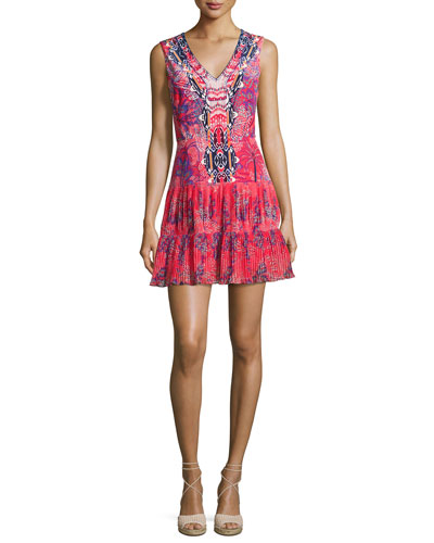Elodie-B Sleeveless Printed Day Dress, Multicolor
