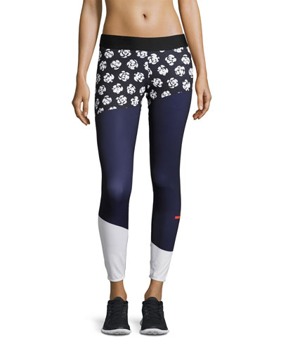 Run Climalite Printed Performance  Leggings, Black Pattern