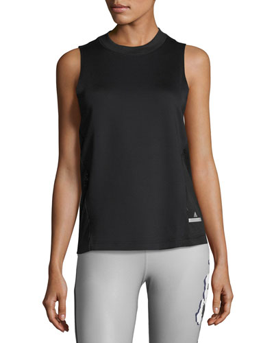 Run Zebra Loose Athletic Tank, Black