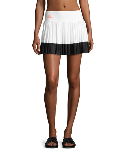 Pleated Performance Tennis Skirt, White/Black