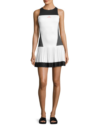 Sleeveless Tennis Dress, White/Solid Gray/Black