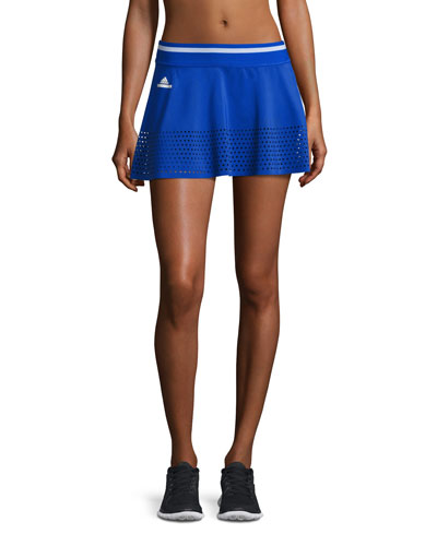 Perforated-Trim Tennis Skirt, Blue/White