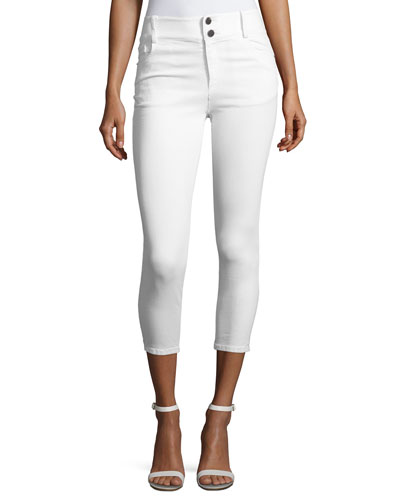 Quinn Cropped Skinny Jeans, White