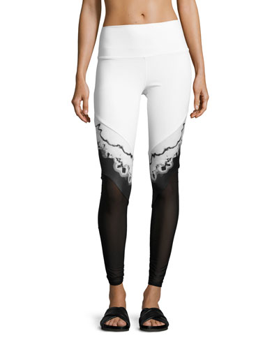 Verse High-Waist Mesh-Panel Leggings, White/Black