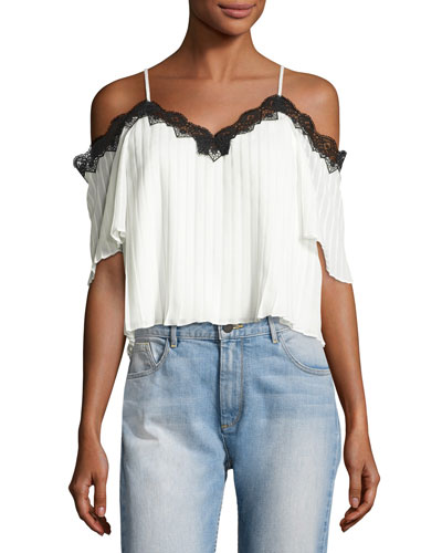 Fefe Cold-Shoulder Lace-Trim Pleated Blouse, White/Black