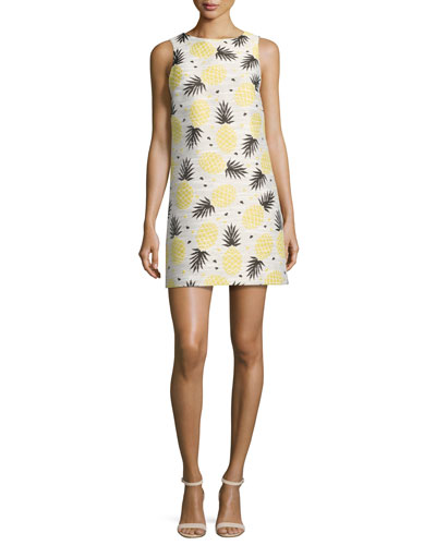 Clyde Pineapple-Print Shift Dress, Multi
