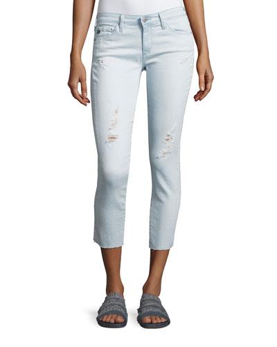 Cropped Distressed Denim Jeans, Indigo