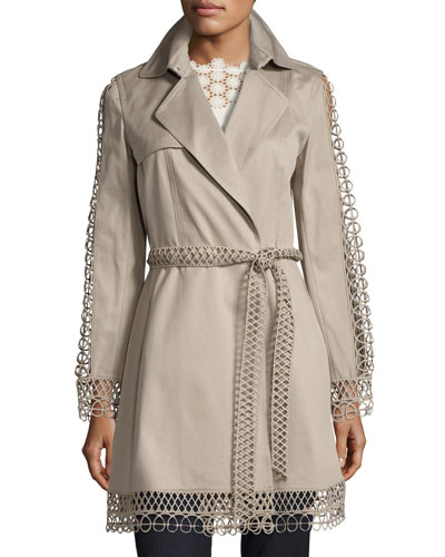 Kathy Lace-Trimmed Trench Coat, Brown