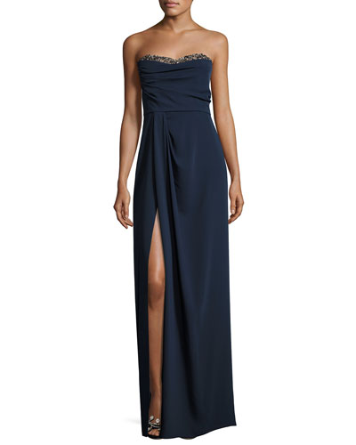 Beaded Strapless Sweetheart Crepe Gown, Navy