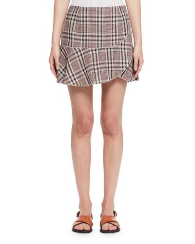 Jevil Asymmetric Plaid Skirt, Light Beige