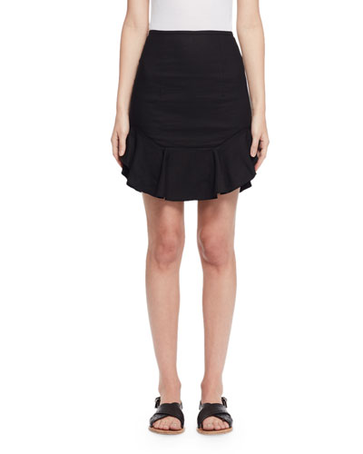 Newt Ruffled Mini Skirt, Black