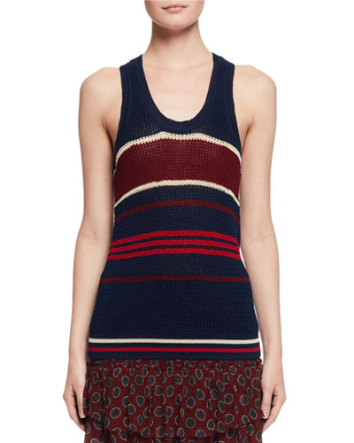 Dully Striped Knit Tank Sweater, Blue